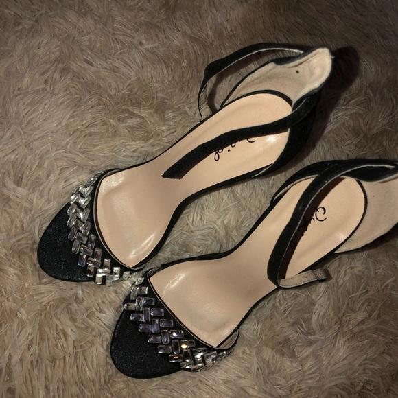 cc6c694671b NWOT Sexy Ankle Strap Black Heels Rhinestone